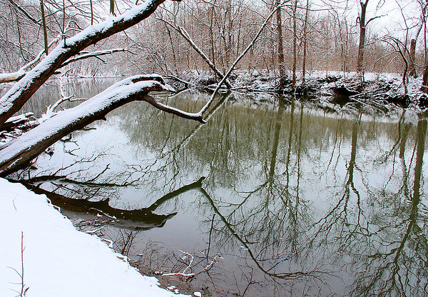 River reflections after the snow at Mounds Park.<br /> <br /> Photographer's Name: Jerry Byard<br /> Photographer's City and State: Anderson, Ind.