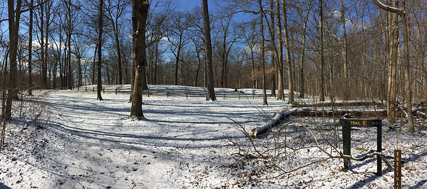 The Great Mound at Mounds Park with a light snow on a cold March morning.<br /> <br /> Photographer's Name: Jerry Byard<br /> Photographer's City and State: Anderson, Ind.