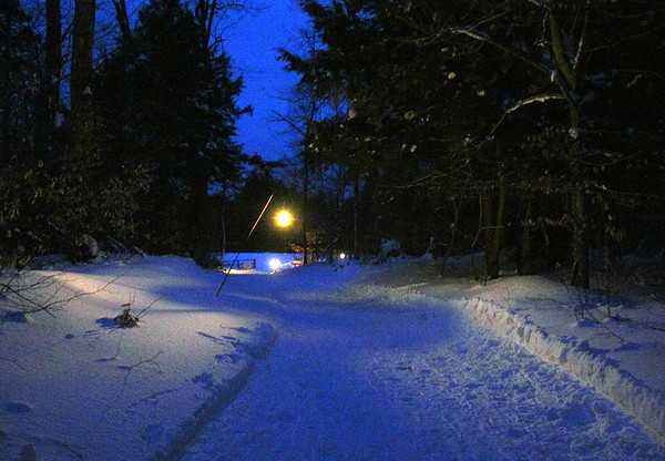 A recent trip to Upper Michigan and I snowshoe hiked on a lighted trail.<br /> <br /> Photographer's Name: Jerry Byard<br /> Photographer's City and State: Anderson, Ind.