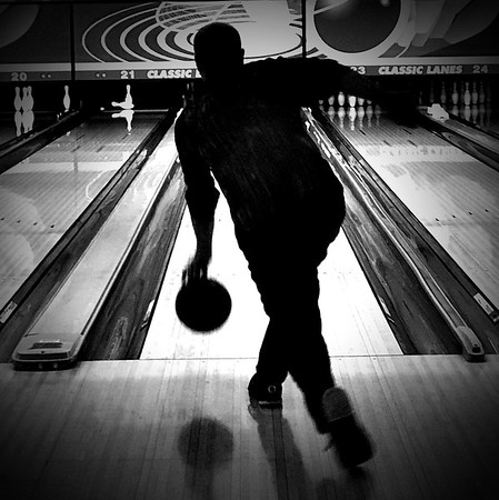Bowling in Bloomington.<br /> <br /> Photographer's Name: Linda Riedel Ellis<br /> Photographer's City and State: Daleville, Ind.