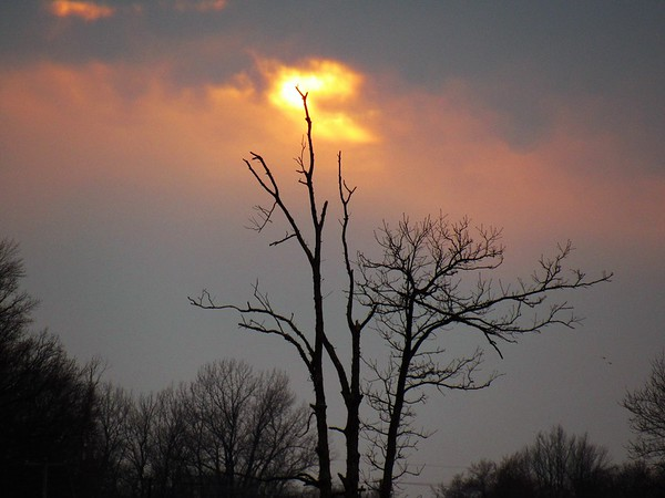 A mid-March cloudy sunset.<br /> <br /> Photographer's Name: Harry Van Noy<br /> Photographer's City and State: Lafayette Township, Ind.