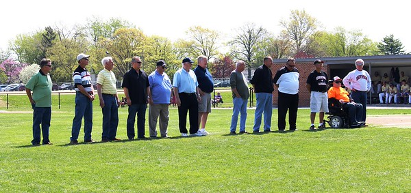 Members of the 1965 Anderson College baseball team are honored at a recent game on the 50th anniversary their berth in the NAIA College Word Series.<br /> <br /> Photographer's Name: Brian Fox<br /> Photographer's City and State: Anderson, Ind.