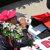 """The """"Princess View,"""" from 2015 500 Festival Princess Madeline. All 33 princesses stand above Victory Lane to get pictures of the driver and queen at the end of the race.<br /> <br /> Photographer's Name: Madeline May<br /> Photographer's City and State: Pendleton, Ind."""