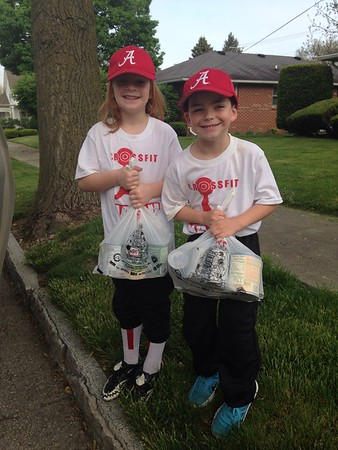 This is Kendall Long and Carter Sovern, both 6, of Alexandria, helping with the annual post office food drive Saturday.<br /> <br /> Photographer's Name: Carrie Long<br /> Photographer's City and State: Alexandria, Ind.