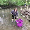 Nancy Steele of Alexandria cleans debris from Bill's Creek Sunday in Alexandria. Steele asked family members to help with the project for her Mother's Day present.<br /> <br /> Photographer's Name: Noelle Steele<br /> Photographer's City and State: Greenfield, Ind.