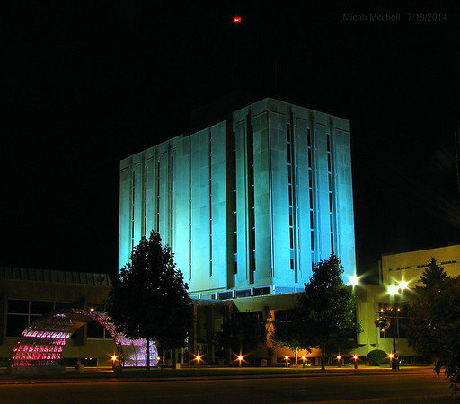 City Hall at night.<br /> <br /> Photographer's Name: Micah Mitchell<br /> Photographer's City and State: Anderson, Ind.