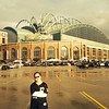 Twelve-year-old Anderson resident Elia Sink recently attended a Milwaukee Brewers game with her father. Here she poses in front of the massive Miller Park in Milwaukee.<br /> <br /> Photographer's Name: David Sink<br /> Photographer's City and State: Anderson, Ind.