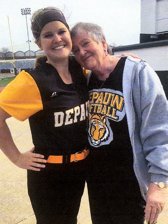Megan Montgomery, left, with her grandmother, after a recent Depauw University softball game.<br /> <br /> Photographer's Name: Paula Burgan<br /> Photographer's City and State: Anderson, Ind.