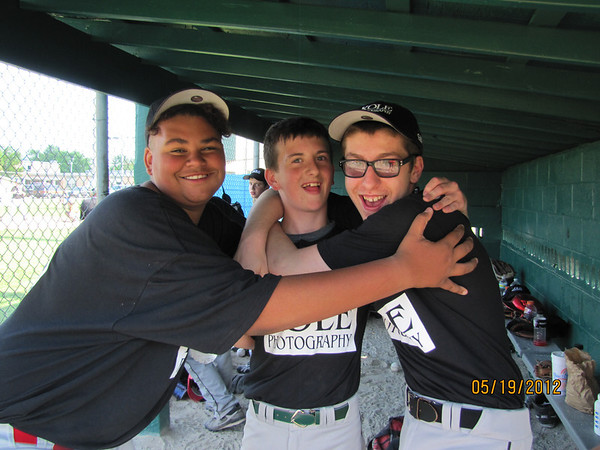 Solomon, Jarren and Vaugh playing baseball in Sr. League for Riverfield.<br /> <br /> Photographer's Name: JoAnna Mullins<br /> Photographer's City and State: Anderson, IN