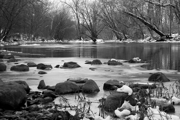 After a light snow and freezing temperatures White River at Mounds Park looks pretty in black and white.<br /> <br /> Photographer's Name: Jerry Byard<br /> Photographer's City and State: Anderson, Ind.