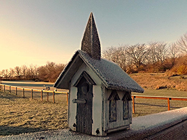 Frost on church at my farm in Richland Township.<br /> <br /> Photographer's Name: J.R. Rosencrans<br /> Photographer's City and State: Alexandria, Ind.