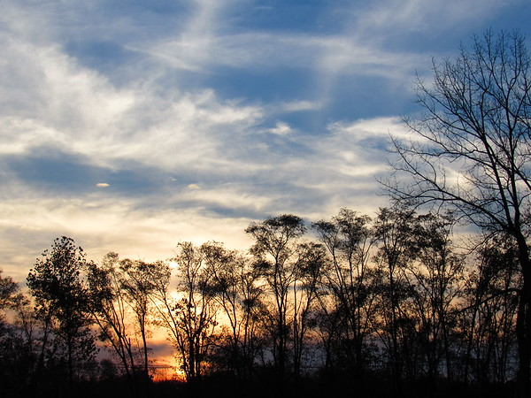 A November sunset.<br /> <br /> Photographer's Name: Harry Van Noy<br /> Photographer's City and State: Lafayette Township, Ind.