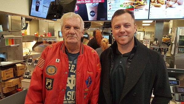 The Honored, a US Marine vet, Bill Engle, being treated to McDonald's lunch by the most grateful Honorable Jason Paul Jamerson, JD, Anderson City Court Judge. THANK YOU BOTH!<br /> <br /> Photographer's Name: Jack D. Reynolds<br /> Photographer's City and State: Anderson, Ind.
