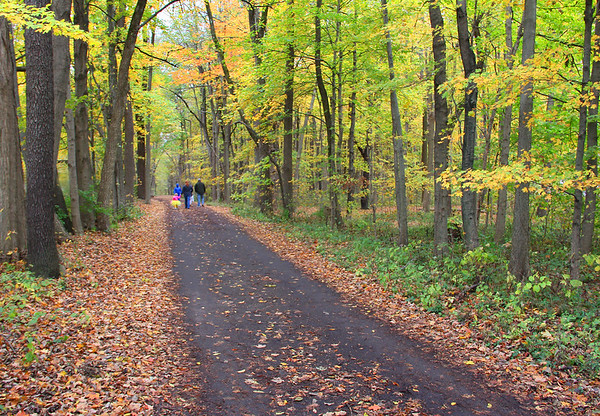 Hikers on a colorful trail at Mounds Park.<br /> <br /> Photographer's Name: Jerry Byard<br /> Photographer's City and State: Anderson, Ind.