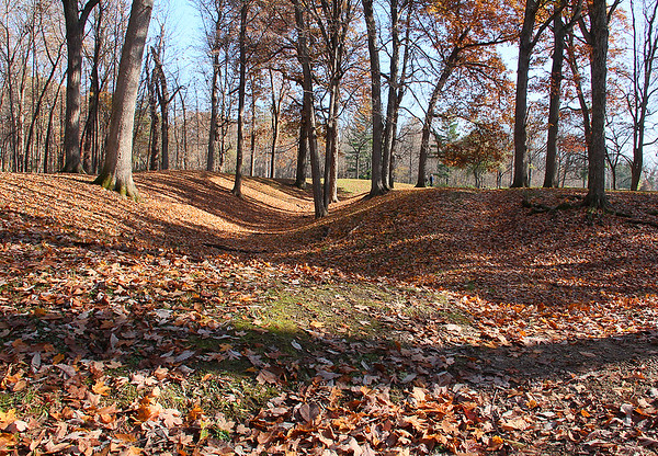 Circle Mound at Mounds Park carpeted in fallen leaves.<br /> <br /> Photographer's Name: Jerry Byard<br /> Photographer's City and State: Anderson, Ind.