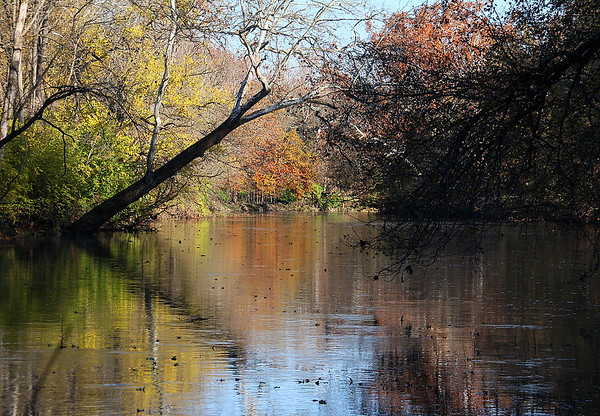 A colorful upstream look of White River at Mounds Park.<br /> <br /> Photographer's Name: Jerry Byard<br /> Photographer's City and State: Anderson, Ind.