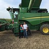 First day of harvest:  Sept 8, 2015. Reagan Jackson's first combine ride, and Kyle (her dad's) birthday. Farming is a family affair. <br /> <br /> Photographer's Name: Layne Jackson<br /> Photographer's City and State: Daleville, Ind.