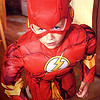 """Eli Coxe  going into character as the TV hero """"The Flash.""""<br /> <br /> Photographer's Name: J.R. Rosencrans<br /> Photographer's City and State: Alexandria, Ind."""