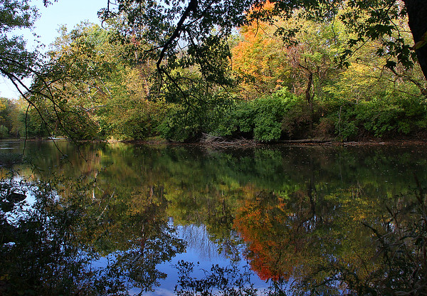 Colorful reflections in White River at Mounds Park.<br /> <br /> Photographer's Name: Jerry Byard<br /> Photographer's City and State: Anderson, Ind.