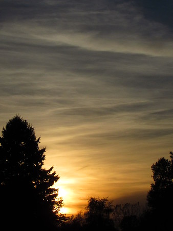 A cloudy sunset on an October Monday.<br /> <br /> Photographer's Name: Harry Van Noy<br /> Photographer's City and State: Lafayette Township, Ind.