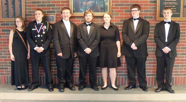 Members of Anderson High School band that played with the U.S. Air Force Band of Mid- America Monday night at Anderson University.<br /> <br /> Photographer's Name: H.A. Pease<br /> Photographer's City and State: Anderson, Ind.