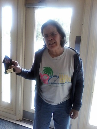 Nancy Stanley of Anderson showing her Twist trophy she won on Sept. 1 at the Rangeline Community Center dance.<br /> <br /> Photographer's Name: Nicole Winkler<br /> Photographer's City and State: Anderson, Ind.