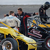 Daleville, Indiana's Aaron Pierce gives Ione, California's Justin Grant some pointers for getting around Anderson Speedway.<br /> <br /> Photographer's Name: Darrell Harper<br /> Photographer's City and State: Frankton, Ind.
