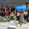 Holy Cross School collected 658 tennis balls for the Anderson Police Department K9 Unit.  Mrs. Fricke's class delivered them.  <br /> <br /> Photographer's Name: Amanda Granger<br /> Photographer's City and State: Anderson, Ind.
