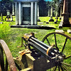 Historic Gatling Gun stands at the ready in front of the grave of the creator of this weapon, Dr. Gatling, in Crown Hill Cemetery, Indianapolis.<br /> <br /> Photographer's Name: Barbara Grimball<br /> Photographer's City and State: Anderson, Ind.
