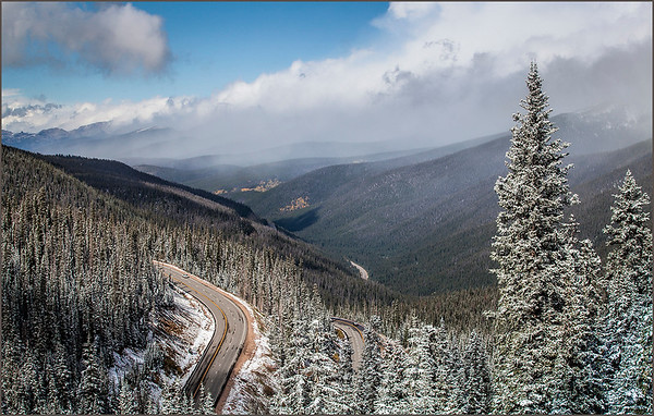 Berthoud Pass in Colorado experiences an early winter snowfall on September 24, 2017.<br /> <br /> Photographer's Name: Barbara Grimball<br /> Photographer's City and State: Anderson, Ind.