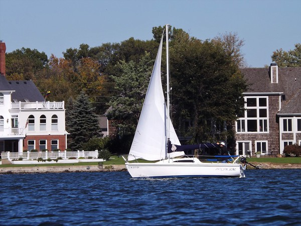 """""""The Sailor:"""" Sailing boat at Geist Reservoir.<br /> <br /> Photographer's Name: J.R. Rosencrans<br /> Photographer's City and State: Alexandria, Ind."""