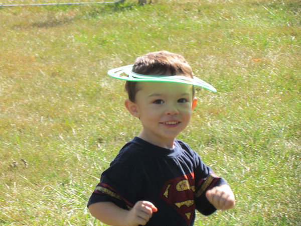 Mason Minderman displays the latest in hatwear for young superheroes.<br /> <br /> Photographer's Name: Brian Fox<br /> Photographer's City and State: Anderson, Ind.