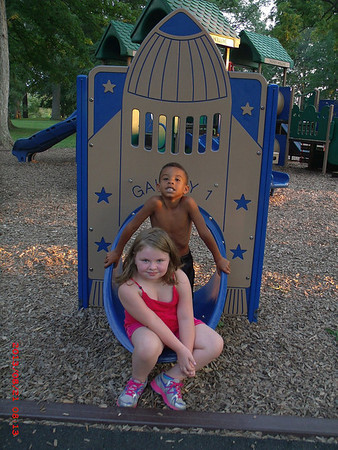 my granddaughter and a friend she met at Shadyside Park.<br /> <br /> Photographer's Name: Kathy Stoops<br /> Photographer's City and State: Anderson, Ind.