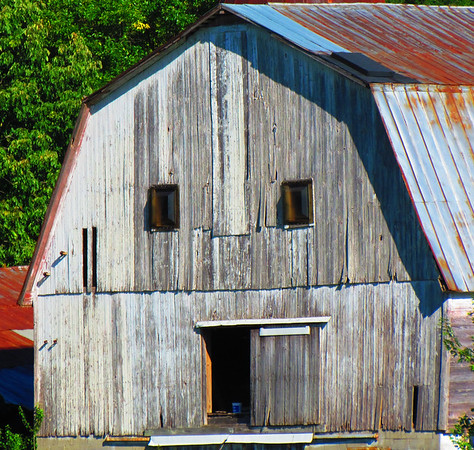 A country barn resembles a carved pumpkin.<br /> <br /> Photographer's Name: Brian Fox<br /> Photographer's City and State: Anderson, Ind.