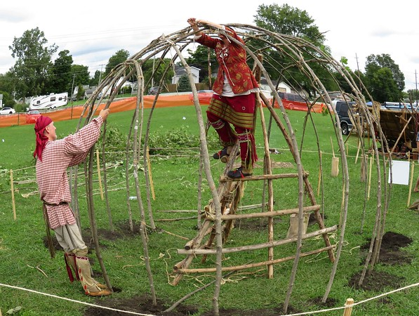 A fish eye view of a dwelling being built at the Anderson Powwow was very interesting.<br /> <br /> Photographer's Name: Jerry Byard<br /> Photographer's City and State: Anderson, Ind.