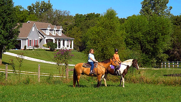 Linda P. Rosencrans and Autumn L. Coxe horse riding in Richland Township.<br /> <br /> Photographer's Name: J.R. Rosencrans<br /> Photographer's City and State: Alexandria, Ind.