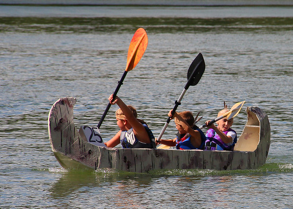 An activity at Pokagon State Park was a cardboard canoe race.<br /> <br /> Photographer's Name: Jerry Byard<br /> Photographer's City and State: Anderson, Ind.
