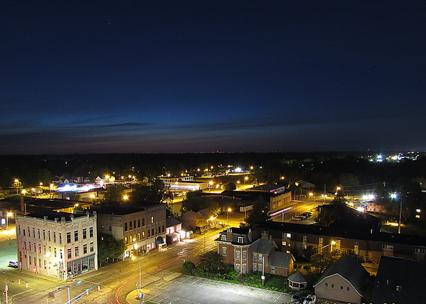 Nightfall over northwestern downtown Anderson.<br /> <br /> Photographer's Name: Micah Mitchell<br /> Photographer's City and State: Anderson, Ind.