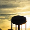 Anderson water tank, silhouetted by the evening sunset.<br /> <br /> Photographer's Name: Harry Van Noy<br /> Photographer's City and State: Lafayette Township, Ind.