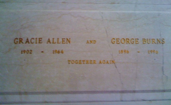 Gracie Allen and George Burns, Forest Lawn Memorial Park (Freedom Mausoleum), Los Angeles.<br /> <br /> Photographer's Name: Jack D. Reynolds<br /> Photographer's City and State: Anderson, Ind.