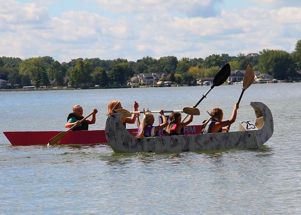 Pokagon State Park's cardboard canoe race last weekend.<br /> <br /> Photographer's Name: Jerry Byard<br /> Photographer's City and State: Anderson, Ind.