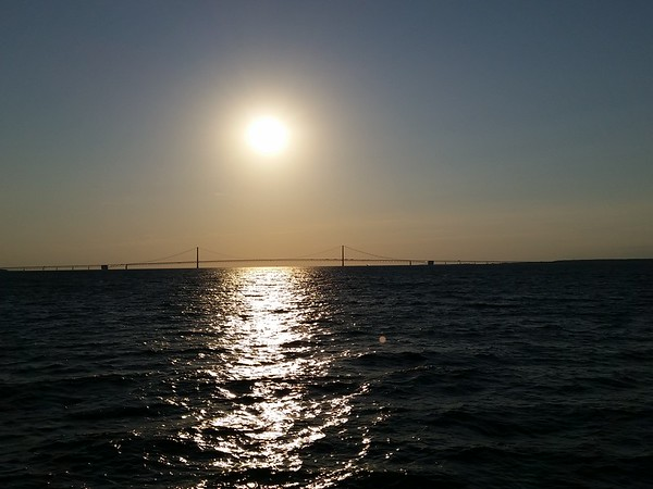 Sunset over the Mackinaw Bridge, Michigan.<br /> <br /> Photographer's Name: Mike McDonald<br /> Photographer's City and State: Anderson, Ind.
