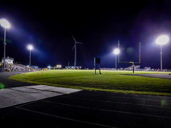 Shenedoah HS Football vs Lapel showing the wind generator at the end of the field.<br /> <br /> Photographer's Name: Terry Lynn Ayers<br /> Photographer's City and State: Anderson, Ind.