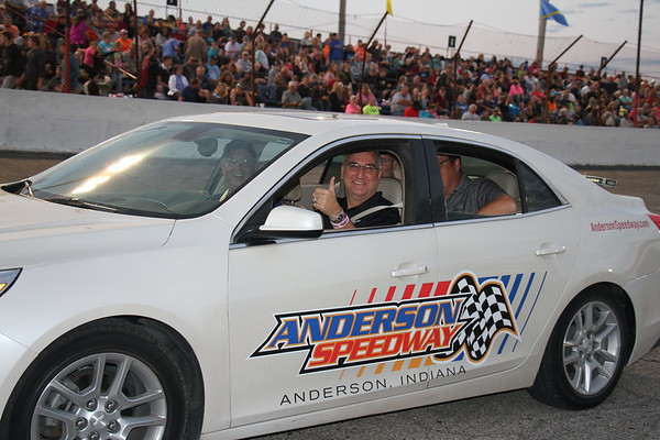 Governor Eric Holcomb enjoys the night at Anderson Speedway as he got to drive the pace car.<br /> <br /> Photographer's Name: Sheli Marshall<br /> Photographer's City and State: Middletown, Ind.