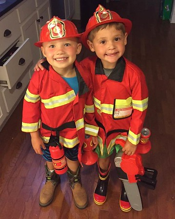 Grandsons, Bryson and Colton, in Alabama practicing firemen!<br /> <br /> Photographer's Name: Cathy Shirai<br /> Photographer's City and State: Pendleton, Ind.