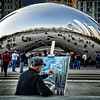 "Chicago's outdoor sculpture, Cloud Gate, also known as ""The Bean"" with an artist painting the sculpture in Millenium Park.<br /> <br /> Photographer's Name: Barbara Grimball<br /> Photographer's City and State: Anderson, Ind."