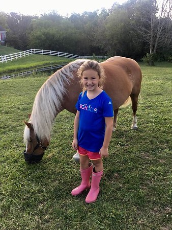 Allie Gray and Miss Penelope (her first horse) at my farm in Richland Township.<br /> <br /> Photographer's Name: J.R. Rosencrans<br /> Photographer's City and State: Alexandria, Ind.