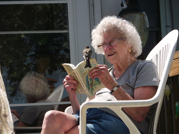 My mother-in-law looking at a bird book, suddenly joined by the very bird she was looking up.<br /> <br /> Photographer's Name: Bret Busby<br /> Photographer's City and State: Anderson, Ind.