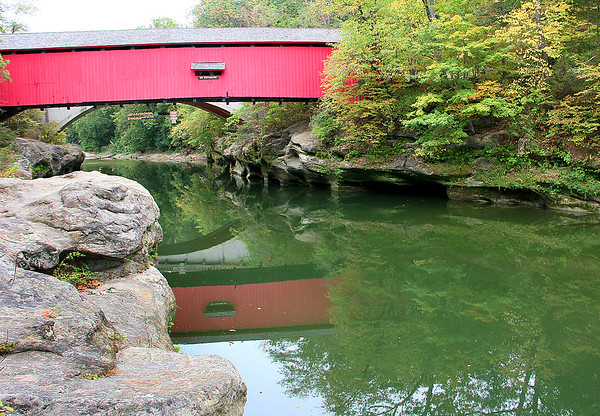 The Narrows Covered Bridge at Turkey Run State Park casts a reflection in Sugar Creek.<br /> <br /> Photographer's Name: Jerry Byard<br /> Photographer's City and State: Anderson, Ind.