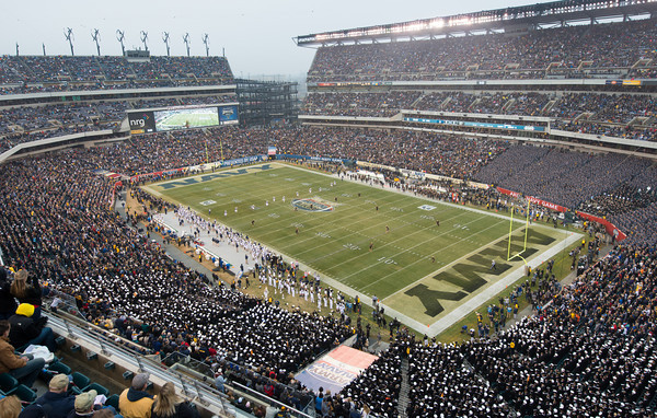 Photo courtesy of DON TOOTHAKER/toothakerphoto.com Opening kickoff on Saturday in Philadelphia during the Army v. Navy football game held at Lincoln Financial Field.  Army fell for the 11th straight year to Navy, 17-13.